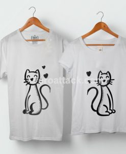 Cats in Love Couple Tshirt size S to 5XL - veroattack.com