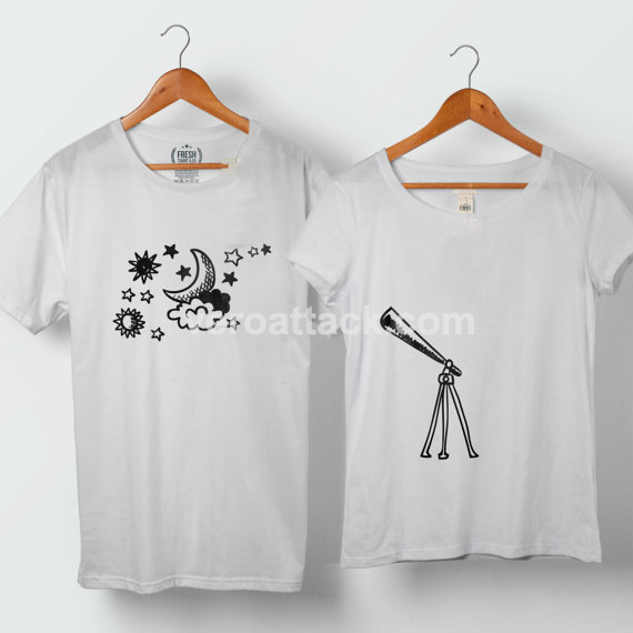 Astronaut and Love Planet Couple Tshirt