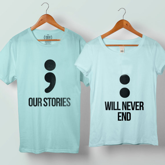 Our Story Will Never End Couple Semicolon Tshirt, Couple T-shirts ...