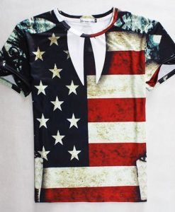 American flag full print graphic shirt