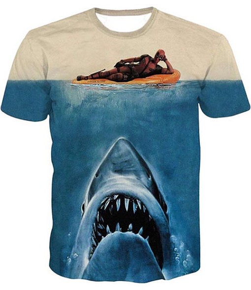 Deadpool jaws shark parody full print graphic shirt
