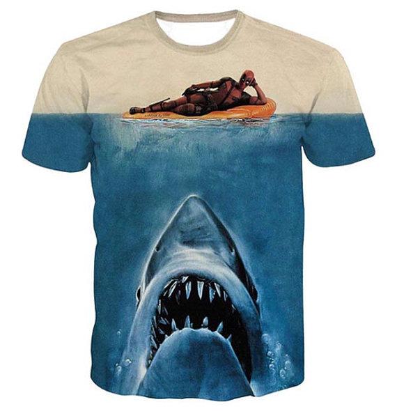 Deadpool jaws shark parody full print graphic shirt