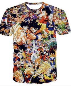 Dragon ball collage full print graphic shirt