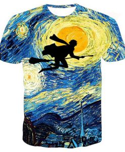 Starry night Harry Potter full print graphic shirt