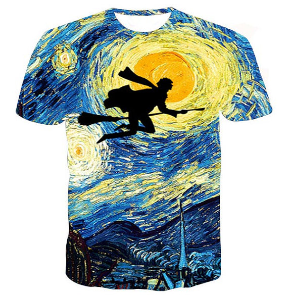 Starry night Harry Potter full print graphic shirt