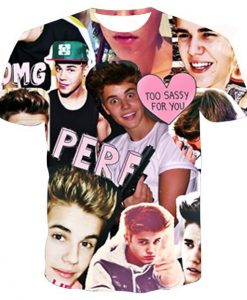 Justin bieber color collage full print graphic shirt