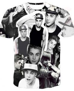 Justin bieber collage full print graphic shirt