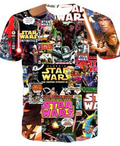 star wars collage full print graphic shirt
