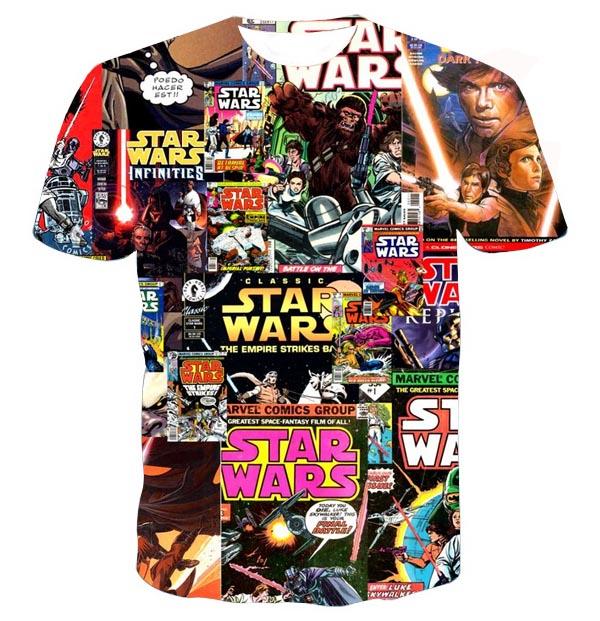 star wars collage full print graphic shirt