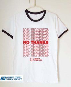 no thanks unisex ringer tshirt