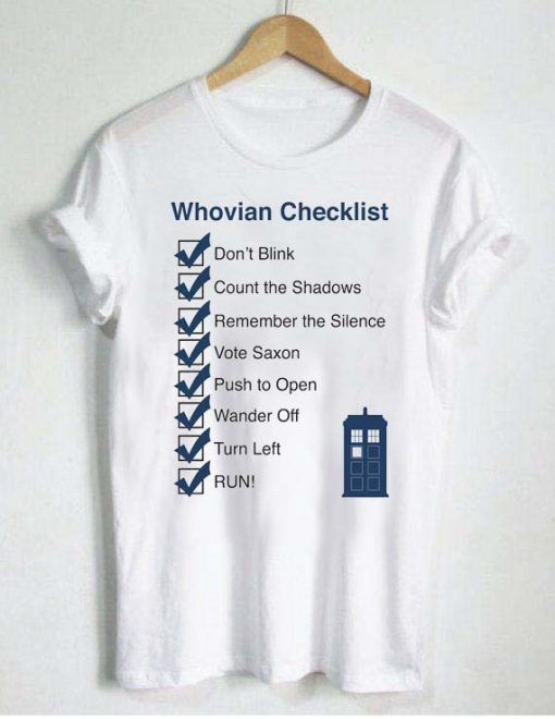 whovian checklist T Shirt Size S,M,L,XL,2XL,3XL