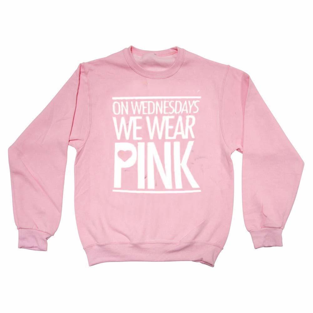 on wednesdays we wear pink ligt pink color Unisex Sweatshirts