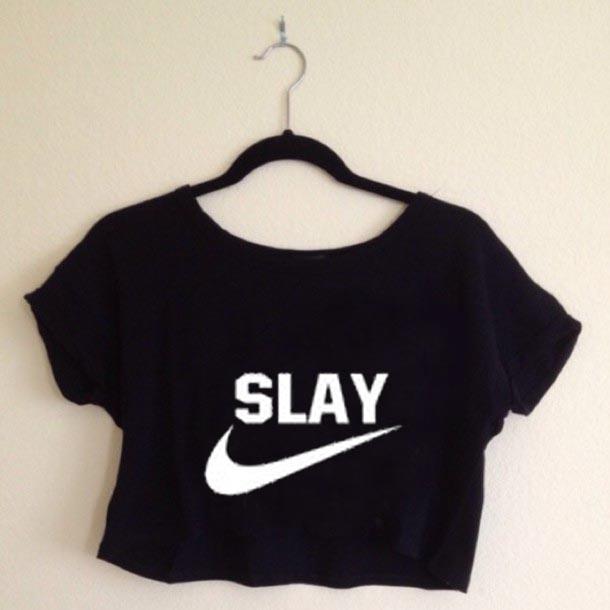 a407af92285cd9 Slay logo sport crop shirt graphic print tee for women
