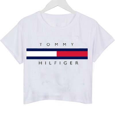 tommy hilfiger logo crop shirt graphic print tee for women. Black Bedroom Furniture Sets. Home Design Ideas