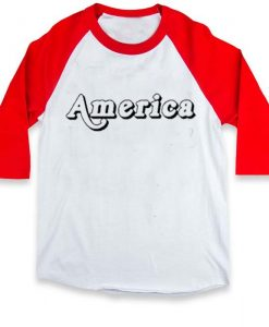 america raglan unisex tee shirt for adult men and women