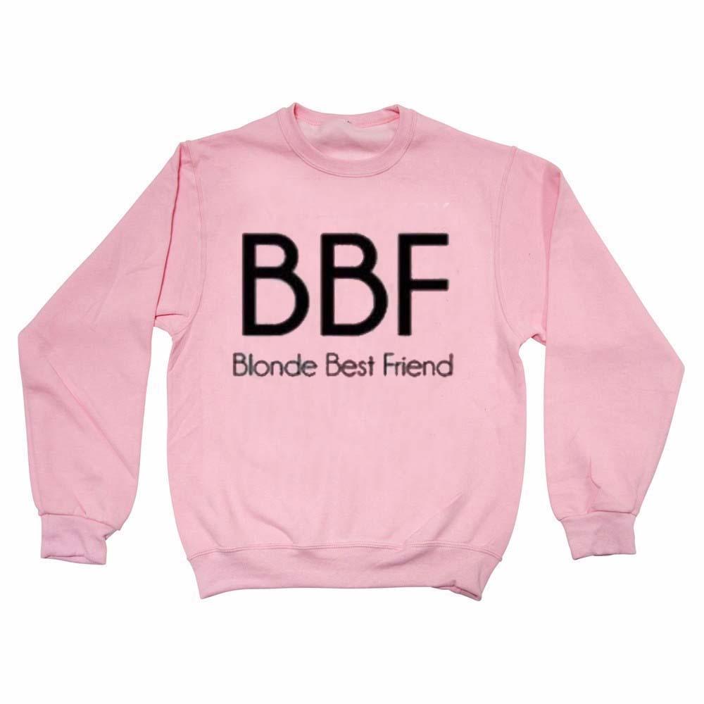 BBF blonde best friend light pink Unisex Sweatshirts