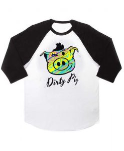 dirty pig aztec raglan unisex tee shirt for adult men and women