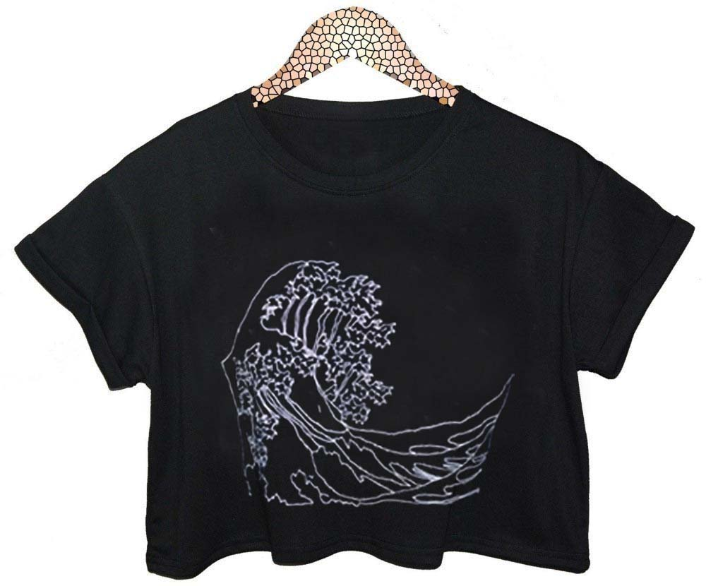 Ocean art crop shirt graphic print tee for women for Graphic print t shirts