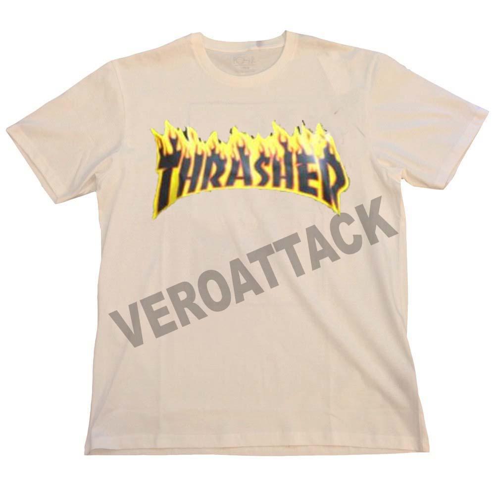 thrasher new logo cream color T Shirt Size S 7b51ed3be