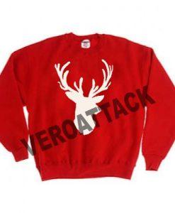 deer christmas red color Unisex Sweatshirts