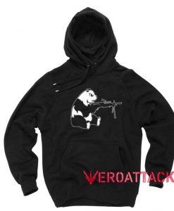 Panda Machine Gun Black Color Hoodie