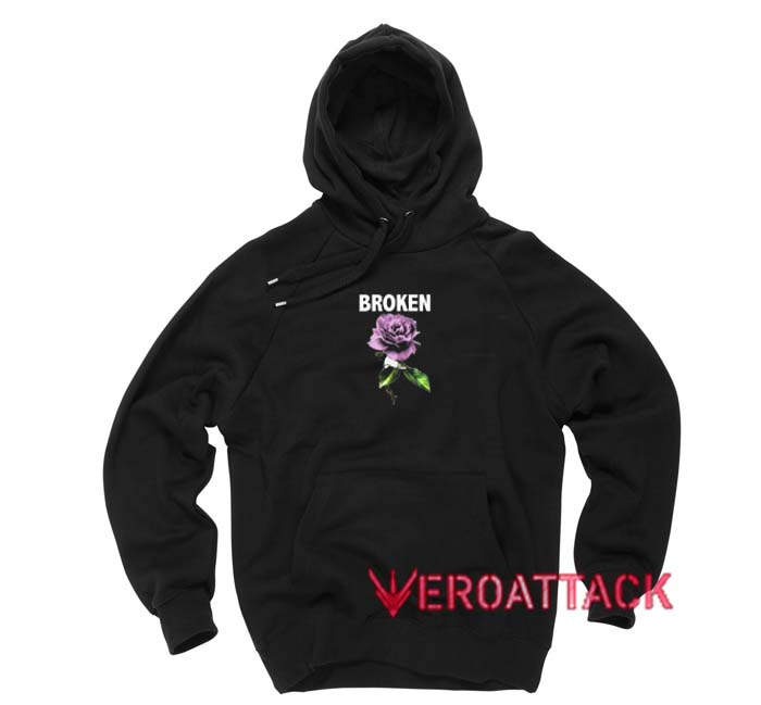 Broken Purple Rose Black Color Hoodie
