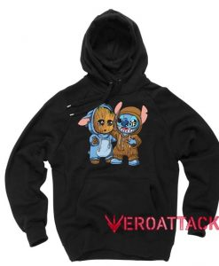 Stitch And Baby Groot Black Color Hoodie