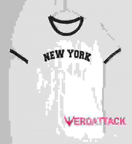 New York Text unisex ringer tshirt