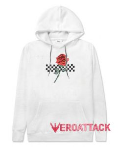 Rose and checkered White color Hoodies