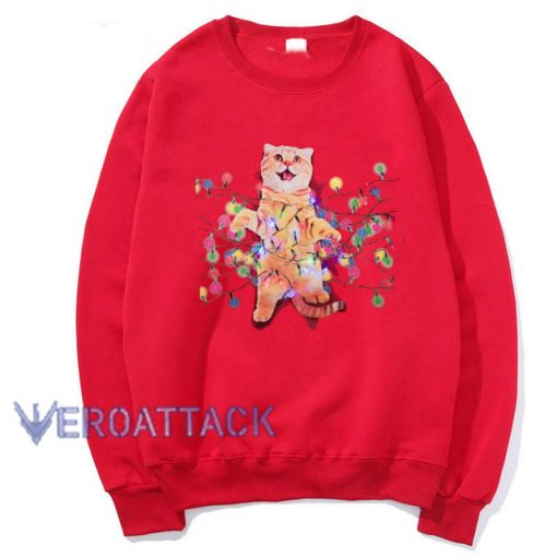 Christmas Cats in Lights with LED Red Unisex Sweatshirts