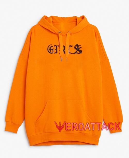 Girls Orange Color Hoodie
