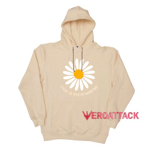 Stop Overthinking Cream Color Hoodie