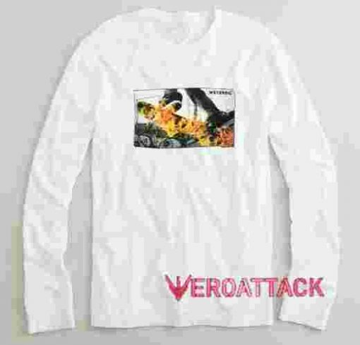 Fire Flames Skateboard Long sleeve T Shirt