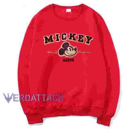 Mickey Mouse World Famous Red Unisex Sweatshirts