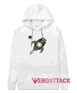 Vintage Rocket In Space White hoodie
