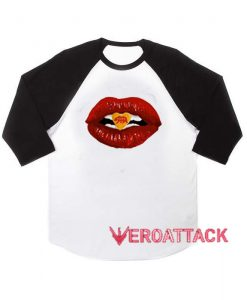 Bear Kiss Red Lips raglan unisex tee shirt