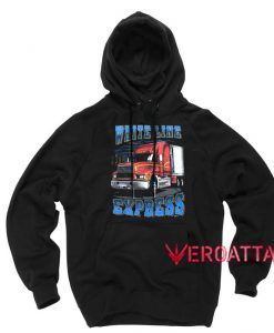 White Line Express Semi Truck Black color Hoodies