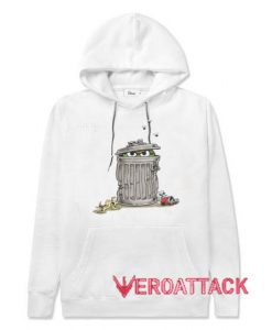 Oscar in Trash Can White color Hoodies