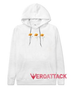 Three Yellow Poppy Flowers White color Hoodies